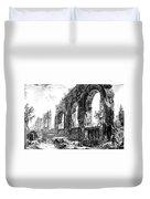 Ruins Of Roman Aqueduct, 18th Century Duvet Cover