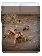 Runners Navigate An Obstacle Course Duvet Cover