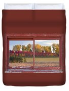Rural Country Autumn Scenic Window View Duvet Cover