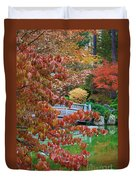 Rust Colored Leaves Over Autumn Pond Duvet Cover