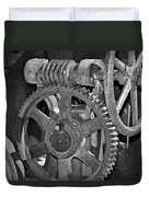 Rust Gears And Wheels Black And White Duvet Cover