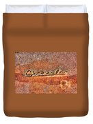 Rusted Antique Chevrolet Logo Duvet Cover