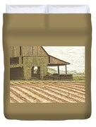 Rustic Barn And Field Rows Duvet Cover