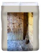 Rustic Door And Broom Duvet Cover