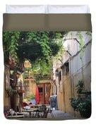 Rustic Greek Cafe Duvet Cover