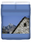 Rustic House And Mountain Duvet Cover