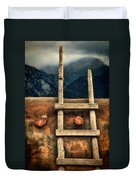 Rustic Ladder On Adobe House Duvet Cover