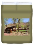 Rustic Wagon At Historic Lonely Dell Ranch - Arizona Duvet Cover by Gary Whitton