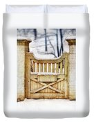 Rustic Wooden Gate In Snow Duvet Cover