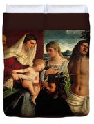 Sacra Conversatione With Ss Catherine Sebastian And Holy Family Duvet Cover