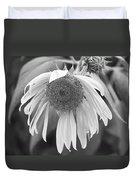 Sad Sunflower Black And White Duvet Cover
