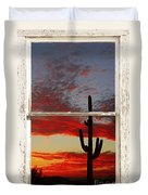 Saguaro Sunset Picture Window View Duvet Cover