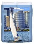 Sailboat In Toronto Harbor Duvet Cover