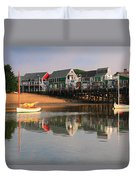 Sailboats And Harbor Waterfront Reflections Duvet Cover