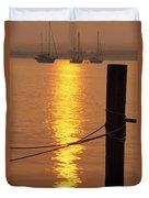 Sailboats At Sunset Duvet Cover