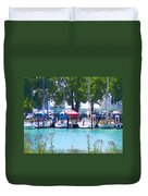 Sailboats In Dock Duvet Cover