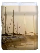 Sailboats In Golden Fog Duvet Cover