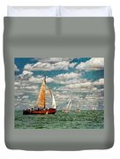 Sailboats In The Netherlands By The Zuiderzee Duvet Cover