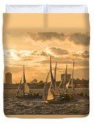 Sailboats On Lake Ontario At Sunset Duvet Cover