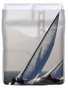 Sailboats Race On San Francisco Bay Duvet Cover