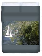 Sailing Boat And Trees Duvet Cover