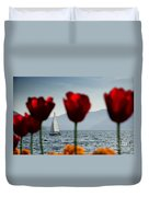 Sailing Boat And Tulip Duvet Cover