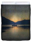 Sailing Boat At Night Duvet Cover