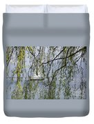 Sailing Boat Behind Tree Branches Duvet Cover