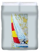 Sailing From The Charts Duvet Cover