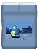 Sailing On Boston Harbor Duvet Cover
