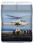 Sailors And Marines Watch An Ah-1z Duvet Cover