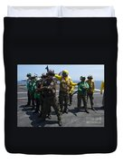 Sailors Fight A Simulated Fire Drill Duvet Cover