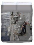 Sailors Fire A Mark 38 Machine Gun Duvet Cover