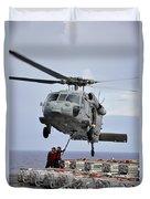 Sailors Hook An Ammunition Pallet To An Duvet Cover