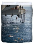 Sailors Jump To The Sea During A Swim Duvet Cover
