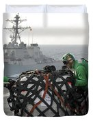 Sailors Move Supplies On The Flight Duvet Cover