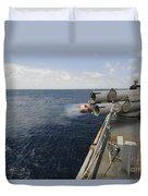 Sailors Observe A Mk-46 Recoverable Duvet Cover