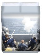 Sailors Perform A 21-gun Salute Aboard Duvet Cover by Stocktrek Images