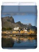 Sakrisoy Fishermen's Village Duvet Cover