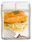 Salmon Steak On Pasta Decorated With Dill Duvet Cover