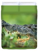 Saltwater Crocodile Crocodylus Porosus Duvet Cover by Cyril Ruoso