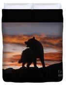 Samoyed At Sunset Duvet Cover