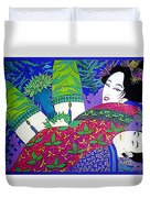 Samurai And Geisha Pillowing Duvet Cover