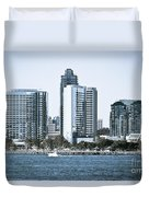 San Diego Downtown Waterfront Buildings Duvet Cover
