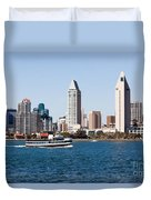 San Diego Skyline And Tour Boat Duvet Cover