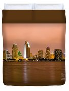 San Diego Skyline At Night Duvet Cover by Paul Velgos