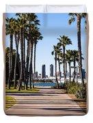 San Diego Skyline With Coronado Island Bayshore Bikeway Duvet Cover