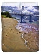 San Francisco Bay Bridge And Beach Duvet Cover