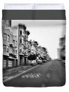 San Francisco Side Street-black And White Duvet Cover