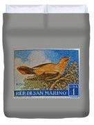 San Marino 1 Lire Stamp Duvet Cover